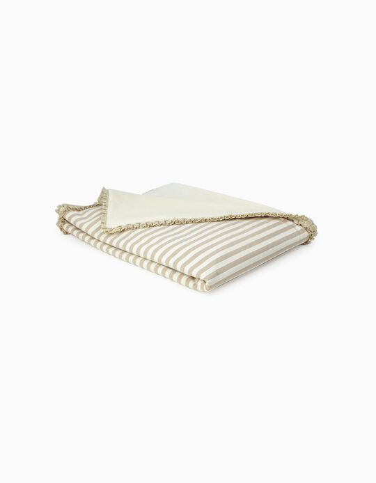 Throw, Julene Pielsa Baby Lace Ending Stripes Beige 70x90cm