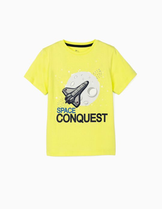 T-shirt para Menino 'Space Conquest', Amarelo Lima