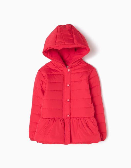 Blusão Vermelho Acolchoado com Capuz