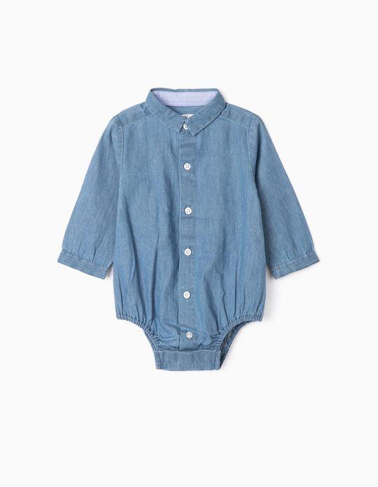 Body-Camisa para Recém-Nascido 'Comfort Denim', Azul