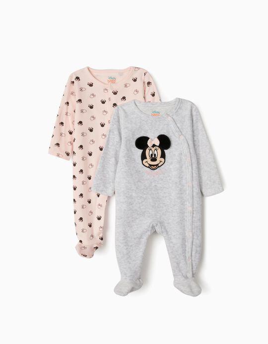 2 Babygrows para Bebé Menina 'Minnie', Cinza/Rosa