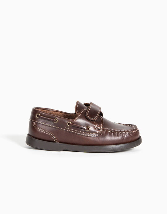 Leather Boat Shoes for Boys, Brown