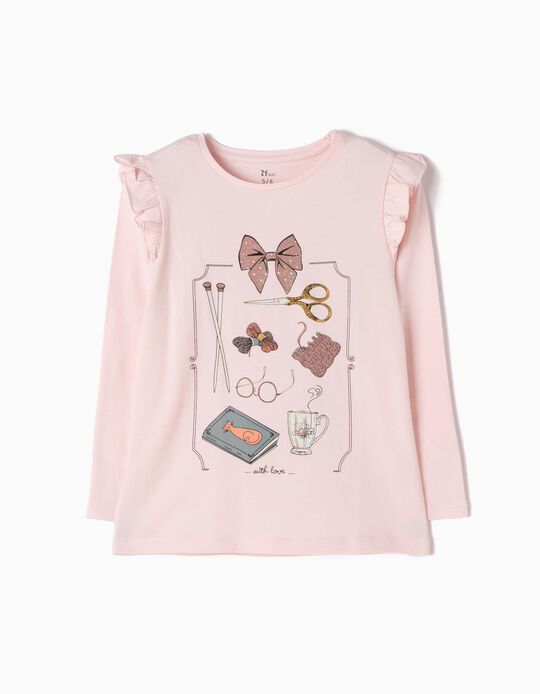 Camiseta de Manga Larga Rosa With Love