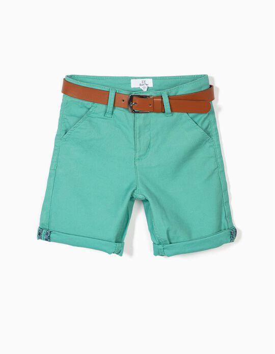 Short para Niño con Cinturón, Azul
