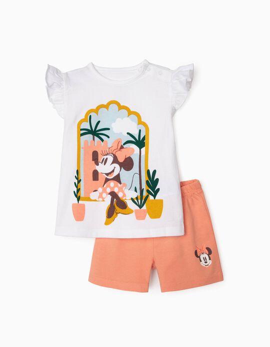 Pijama Algodón Orgánico para Bebé Niña 'Minnie', Blanco/Rosa
