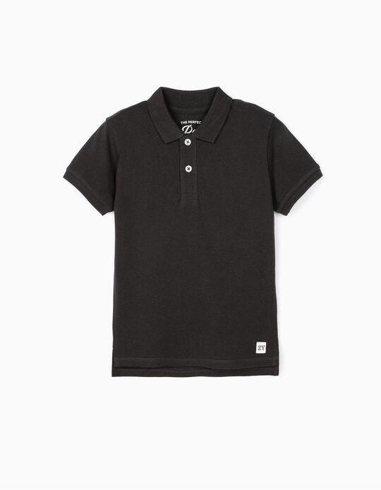 Short Sleeve Polo Shirt for Boys, Dark Grey