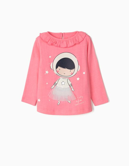Long Sleeve Top for Baby Girls 'Astronaut Ballerina', Pink