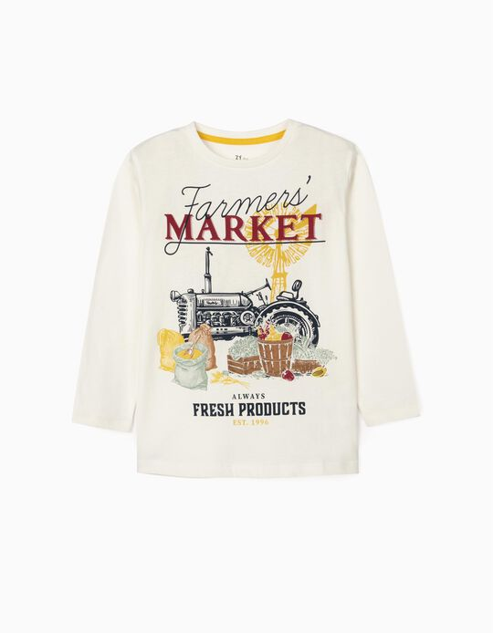 T-Shirt Manches Longues Garçon 'Market', Blanc