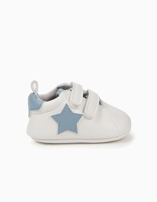 Zapatillas para Recién Nacido 'Estrellas', Blanco y Azul Claro