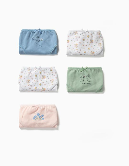 5 Cuecas para Menina 'Cute Bunny', Multicolor
