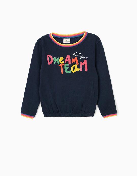 Sweatshirt para Menina 'Best Team', Azul Escuro