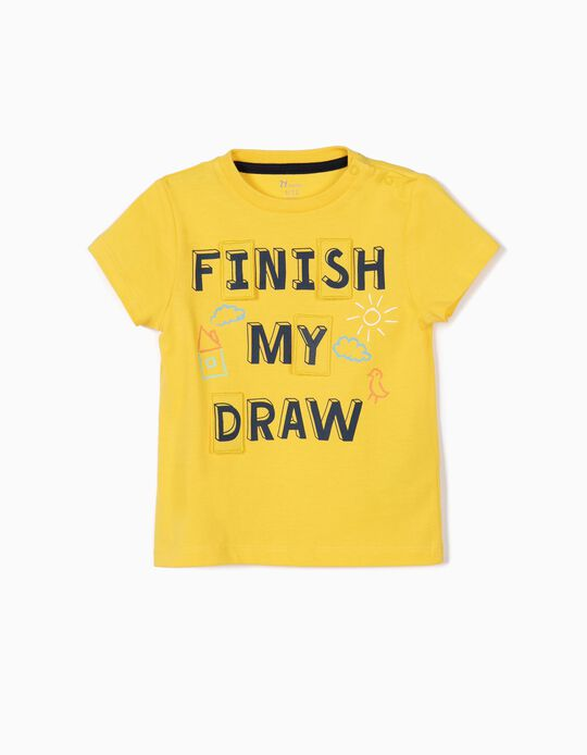 Camiseta para Bebé Niño 'Finish My Draw', Amarilla