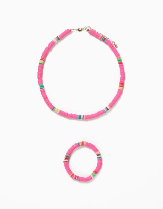 Bead Necklace & Bracelet for Girls, Pink