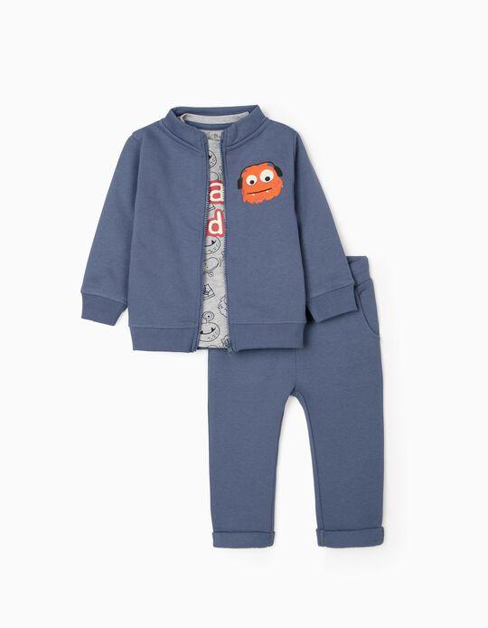 Conjunto 3 Peças para Bebé Menino 'Cute Monster', Cinza/Azul