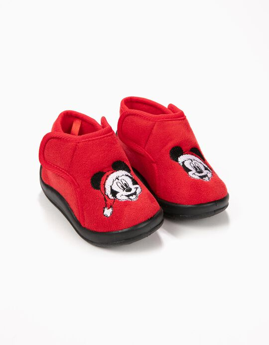 Zapatillas de Casa Mickey Christmas Rojas