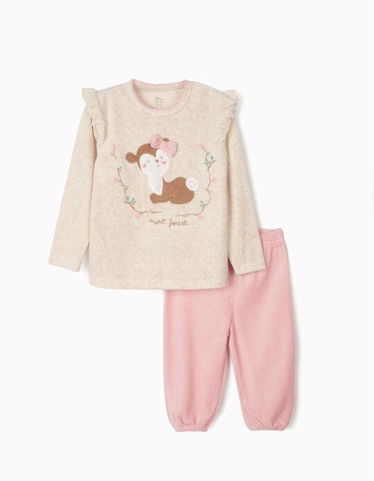 Pijama Veludo para Bebé Menina 'Sweet Forest', Bege e Rosa