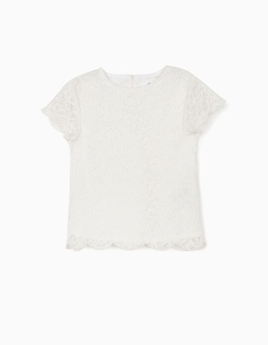 Blusa Renda para Menina, Branco