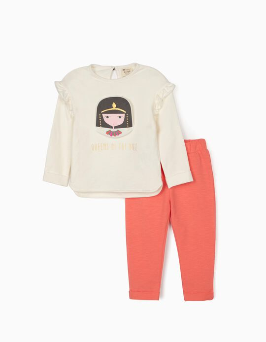 Tracksuit for Baby Girls, 'Queens of the Nile', White/Pink
