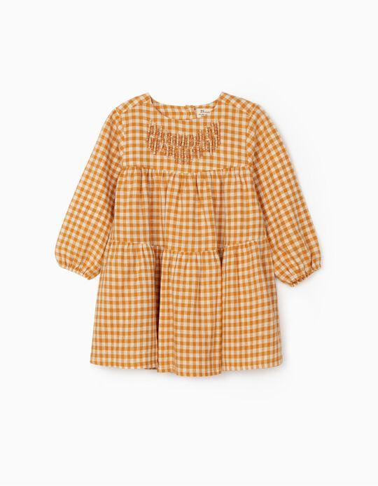 Gingham Dress for Baby Girls, Dark Yellow/White