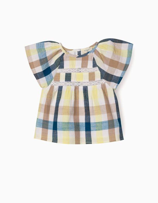Blusa Xadrez para Bebé Menina 'B&S', Multicolor