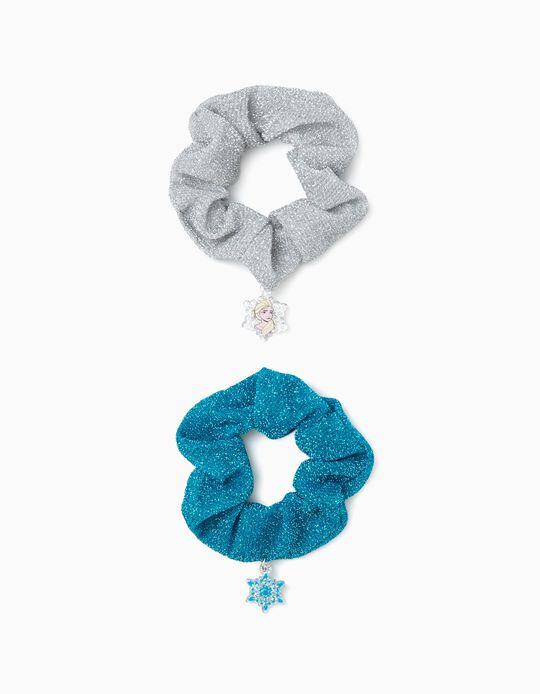 2 Elásticos Coletero para Niña 'Frozen', Azul/Plateado