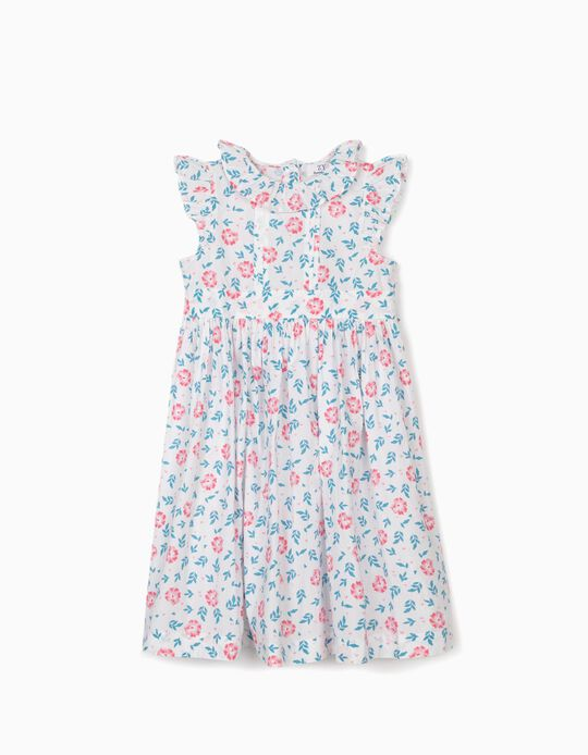 Floral Dress for Girls, White