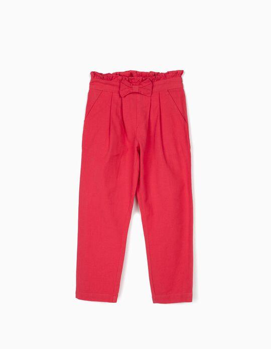 Pantalón con Lino para Niña, Rosa