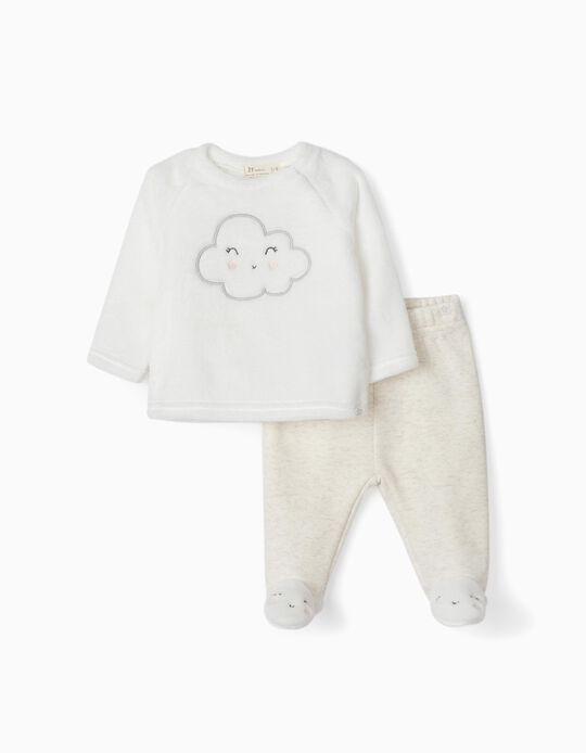 Sweatshirt e Calças para Recém-Nascida 'Cloud', Branco/Cinza