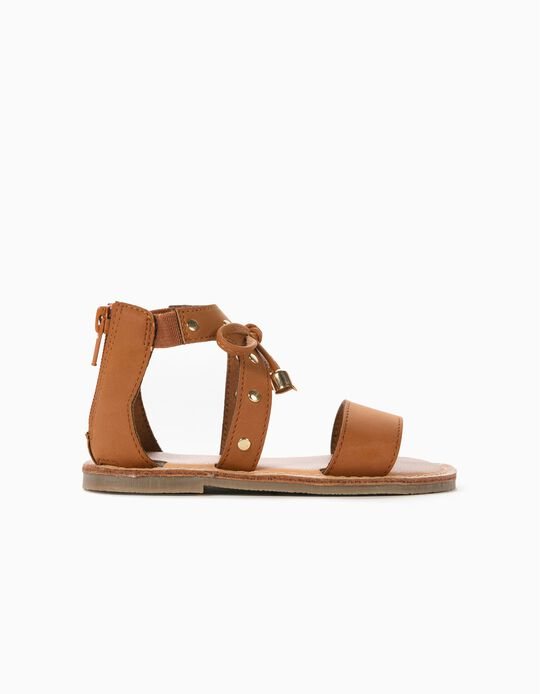 Sandales cloutées bébé fille, marron