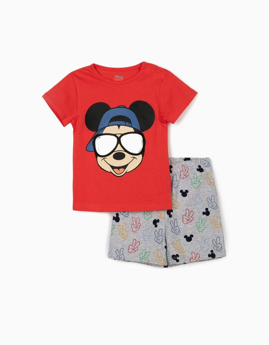 Pyjamas for Baby Boys, 'Mickey Mouse', Red/Grey