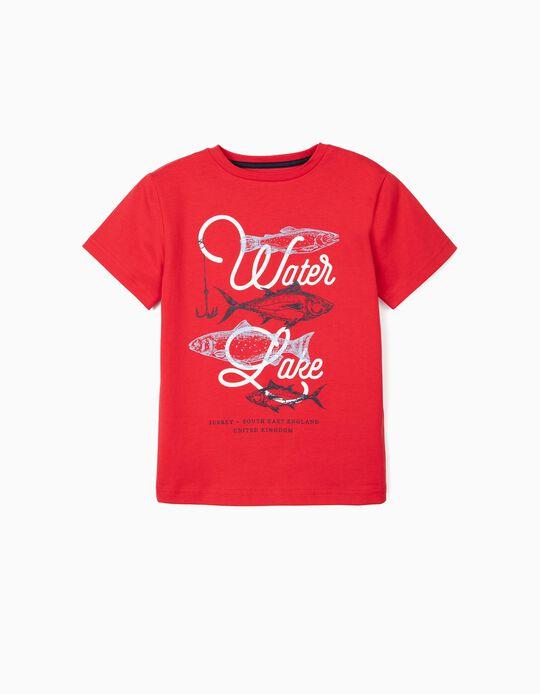T-shirt para Menino UPF 30+ 'Water Lake', Vermelho
