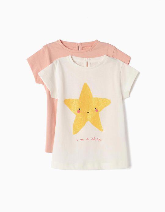 2 Camisetas para Bebé Niña 'Butterfly & Star', Rosa y Blanco