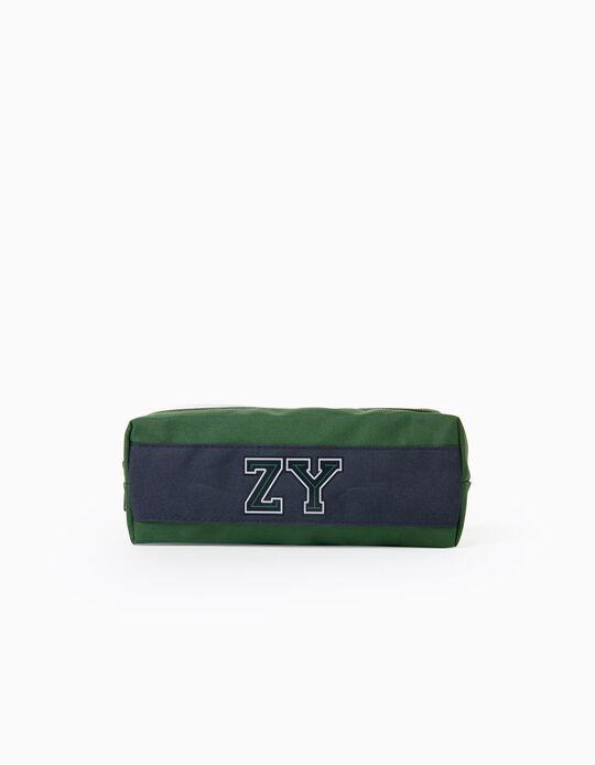 Estojo para Menino 'ZY', Verde/Azul Escuro