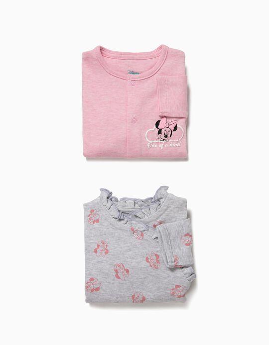2 Bodies para Bebé Niña 'Minnie', Gris y Rosa