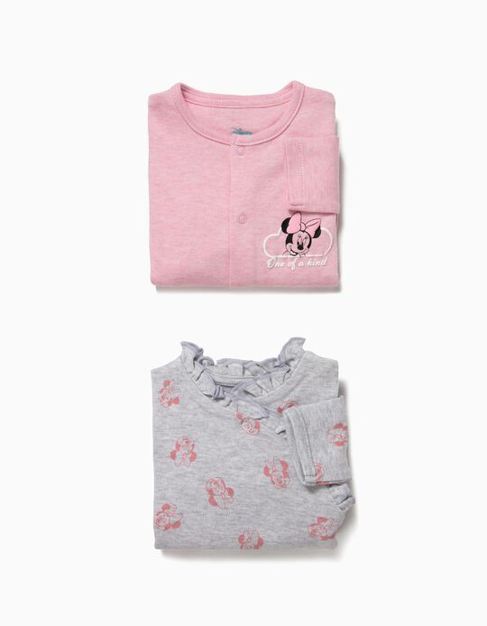 2 Bodies para Bebé Menina 'Minnie', Cinza e Rosa