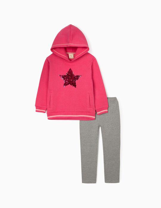 Sweatshirt and Leggings for Girls, Pink/Grey
