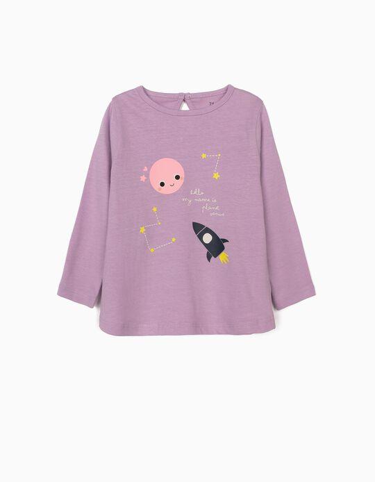 T-shirt Manga Comprida para Bebé Menina 'Venus', Lilás