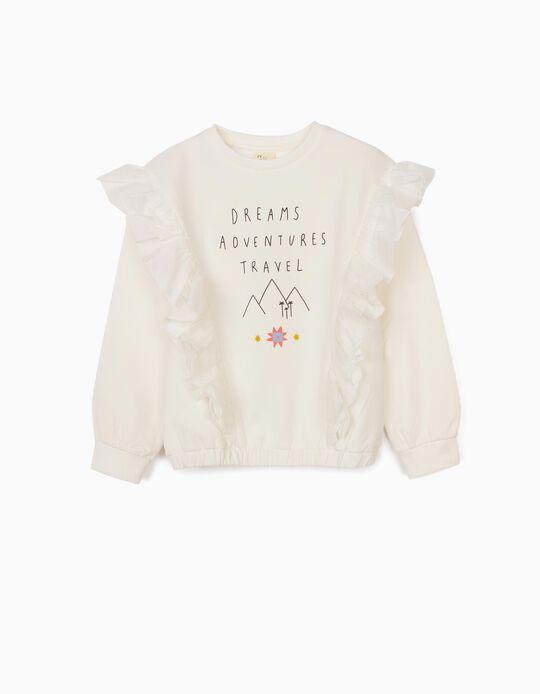 Sweatshirt com Folhos para Menina 'Adventure', Branco