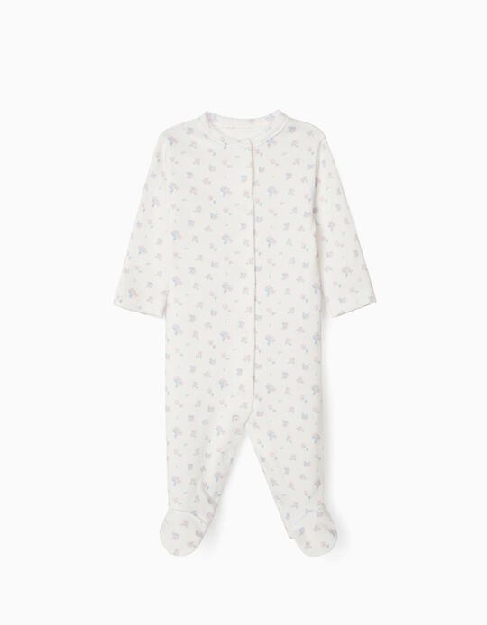 Long Sleeve Sleepsuit for Newborn Baby Girls, 'WH', White
