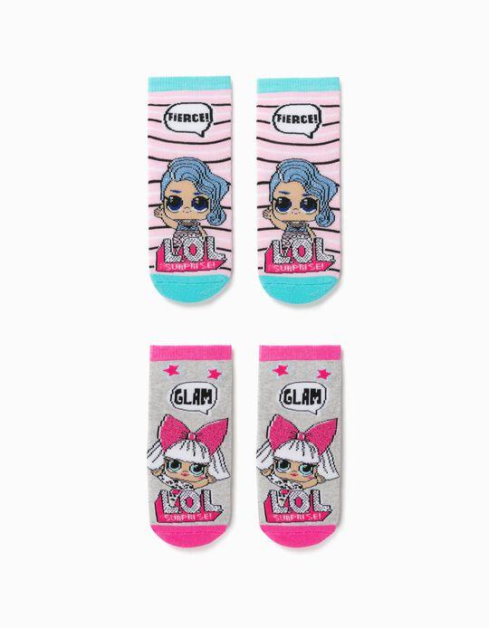 2 Pares Calcetines Antideslizantes para Niña 'LOL Surprise', Rosa/Gris