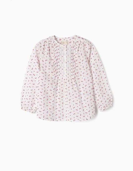 Blusa para Niña de 'Flores', Blanca