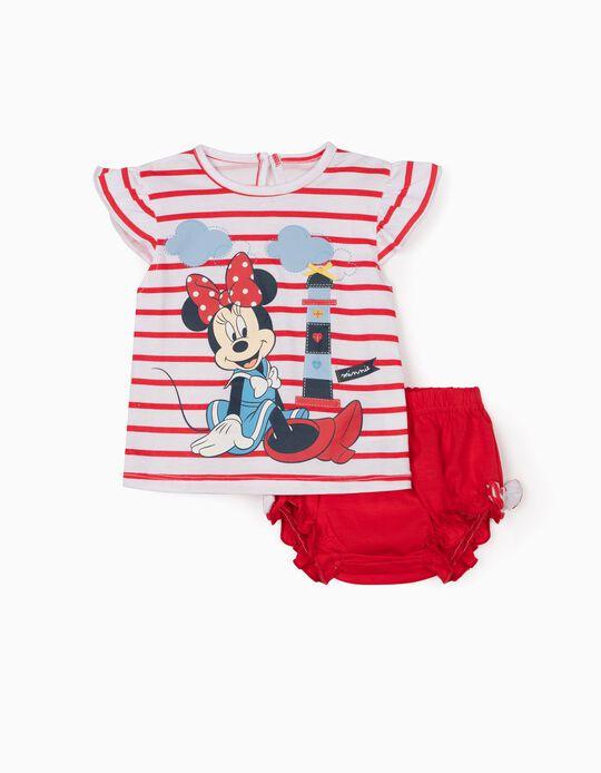 T-shirt e Calções para Recém-Nascida 'Minnie',  Branco/Vermelho
