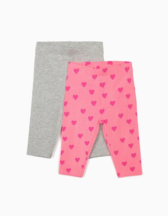 2 Capri Leggings for Girls 'Hearts', Grey/Pink