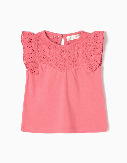 T-shirt com Bordados Rosa