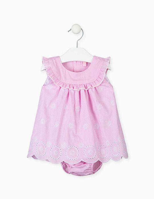 Vestido com Tapa-Fraldas para Recém-Nascida LOSAN, Rosa/Branco