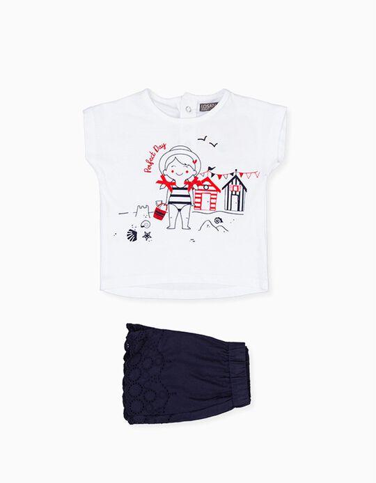 T-shirt e Calções para Bebé Menina LOSAN, Branco/Azul Escuro