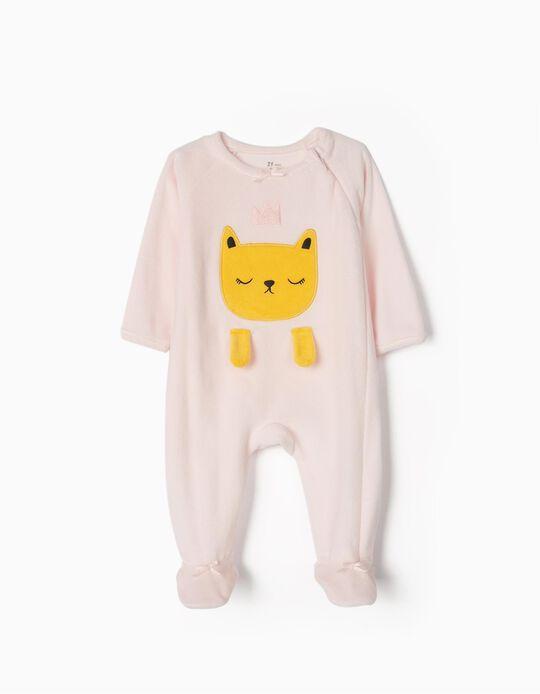 Velour Sleepsuit for Baby Girls 'Cat Queen', Pink