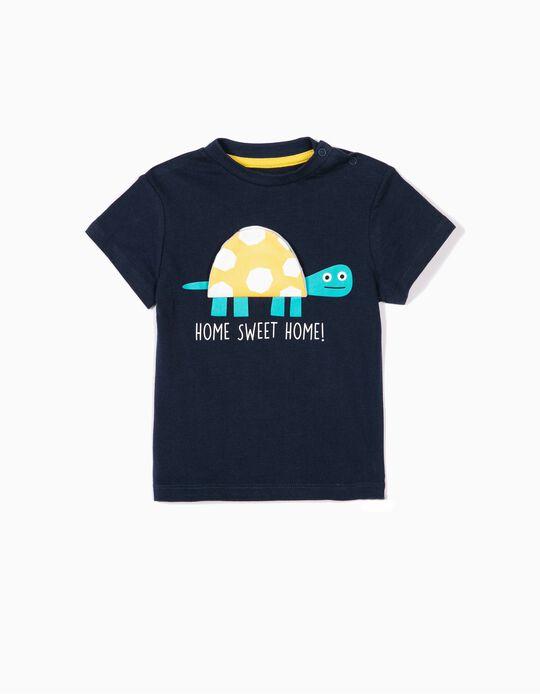 Camiseta para Bebé Niño 'Turtle Home', Azul Oscura