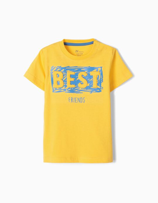 Camiseta de Manga Larga para Bebé Niño 'Best Friends', Amarillo