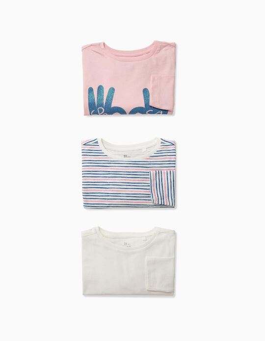 3 Camisetas de Manga Larga para Niña 'Spread Some Love', Multicolor